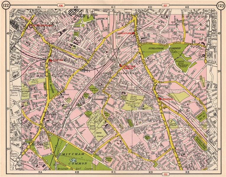 Associate Product S LONDON. Mitcham Tooting Streatham West Norwood Norbury Eastfields 1953 map