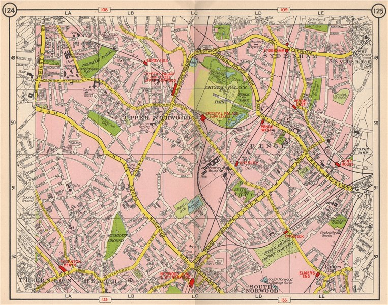 Associate Product S LONDON. Upper/South Norwood Sydenham Thornton Heath Anerley Penge 1953 map