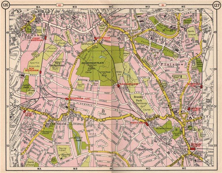 Associate Product SE LONDON. Beckenham Sydenham Downham Bromley Shortlands Plaistow 1953 old map