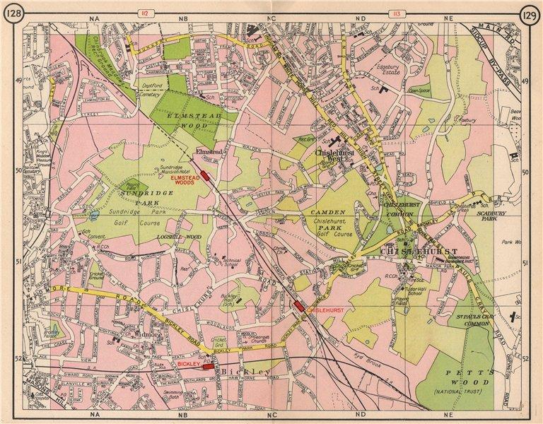 Associate Product SE LONDON. Chislehurst Widmore Bickley Petts Wood Elmstead Pett's Wood 1953 map