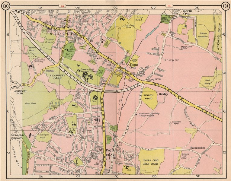 Associate Product SE LONDON. Sidcup Foots Cray Ruxley St Paul's Cray North Cray 1953 old map