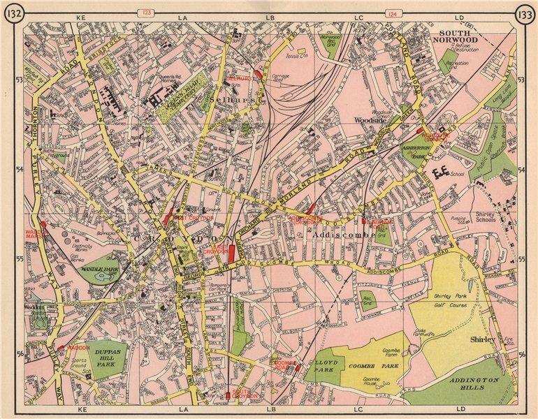 Associate Product S LONDON. South Norwood Waddon Croydon Selhurst Woodside Addiscombe 1953 map