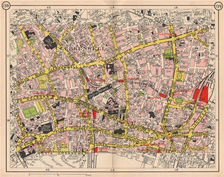 Associate Product LONDON. Clerkenwell Holborn City Old Street Hoxton Moorgate Smithfield 1953 map