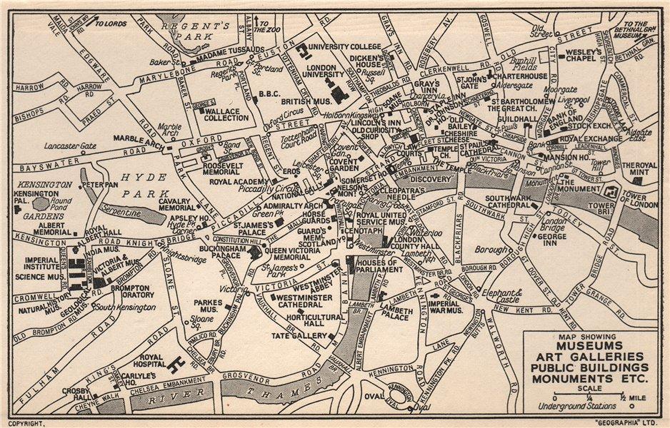Associate Product LONDON Museums Art Galleries Public Buildings Monuments 1953 old vintage map