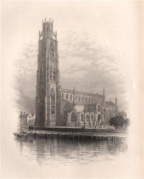 Associate Product BOSTON Church, Lincolnshire. Pilgrim fathers. BARTLETT 1854 old antique print