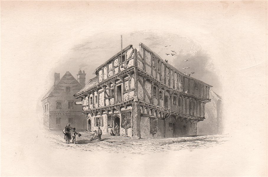 Associate Product Old Houses in BOSTON, Lincolnshire. Pilgrim fathers. BARTLETT 1854 print