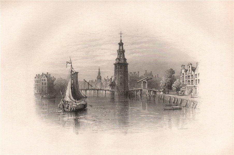 AMSTERDAM, Netherlands. Pilgrim fathers. BARTLETT 1854 old antique print