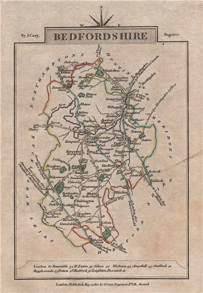 Associate Product BEDFORDSHIRE by John CARY. Miniature antique county map 1812 old