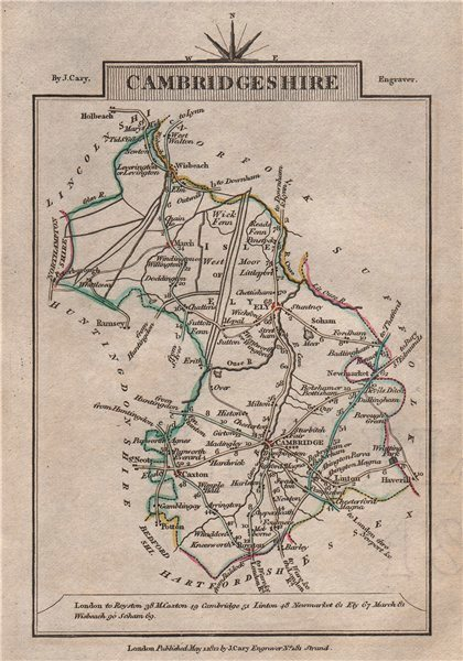 Associate Product CAMBRIDGESHIRE by John CARY. Miniature antique county map 1812 old