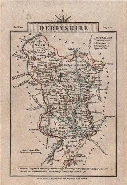 Associate Product DERBYSHIRE by John CARY. Miniature antique county map. Original colour 1812