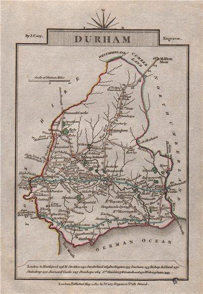 Associate Product DURHAM by John CARY. Miniature antique county map. Original colour 1812