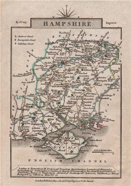 Associate Product HAMPSHIRE by John CARY. Miniature antique county map. Original colour 1812