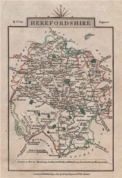 Associate Product HEREFORDSHIRE by John CARY. Miniature antique county map 1812 old