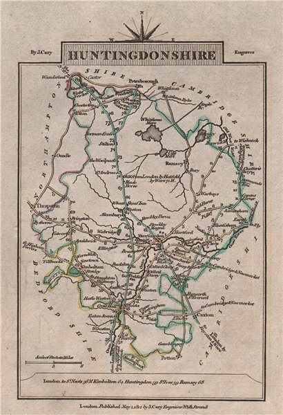 Associate Product HUNTINGDONSHIRE by John CARY. Miniature antique county map 1812 old