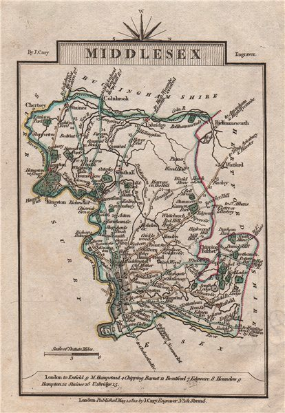 Associate Product MIDDLESEX by John CARY. Miniature antique county map. Original colour 1812