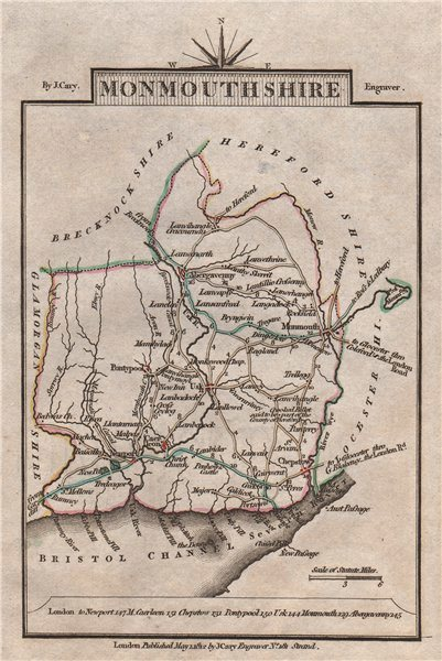 Associate Product MONMOUTHSHIRE by John CARY. Miniature antique county map 1812 old
