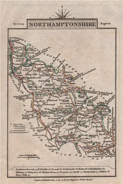 Associate Product NORTHAMPTONSHIRE by John CARY. Miniature antique county map 1812 old