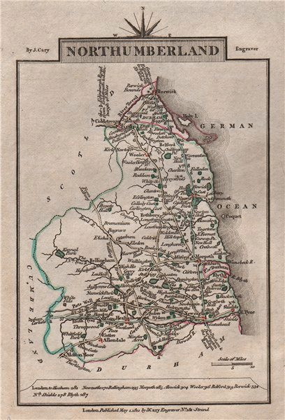 Associate Product NORTHUMBERLAND by John CARY. Miniature antique county map 1812 old