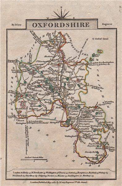 Associate Product OXFORDSHIRE by John CARY. Miniature antique county map. Original colour 1812