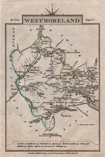Associate Product WESTMORELAND by John CARY. Miniature antique county map 1812 old