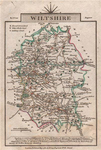 Associate Product WILTSHIRE by John CARY. Miniature antique county map. Original colour 1812