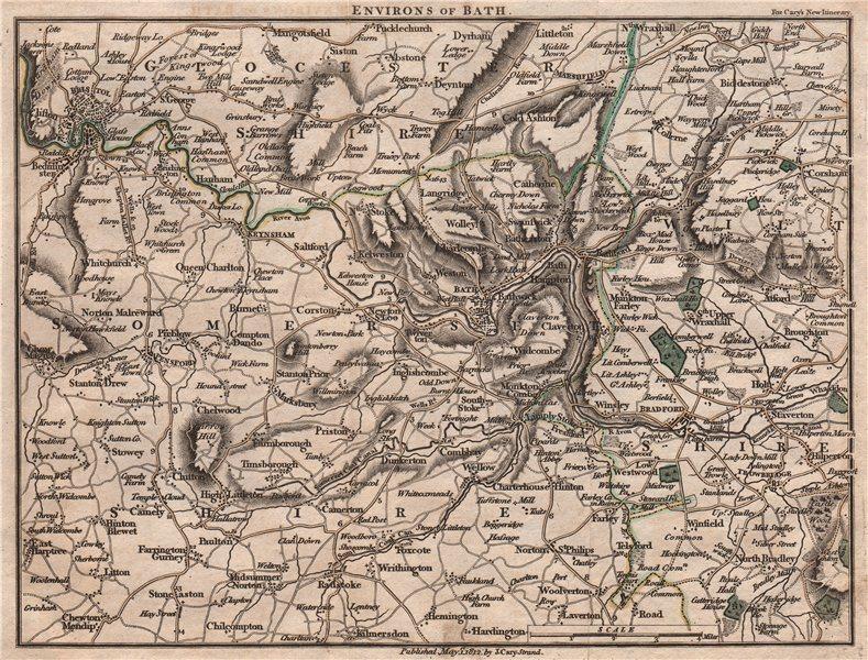 ENVIRONS OF BATH by John CARY. Miniature antique map. Original colour 1812