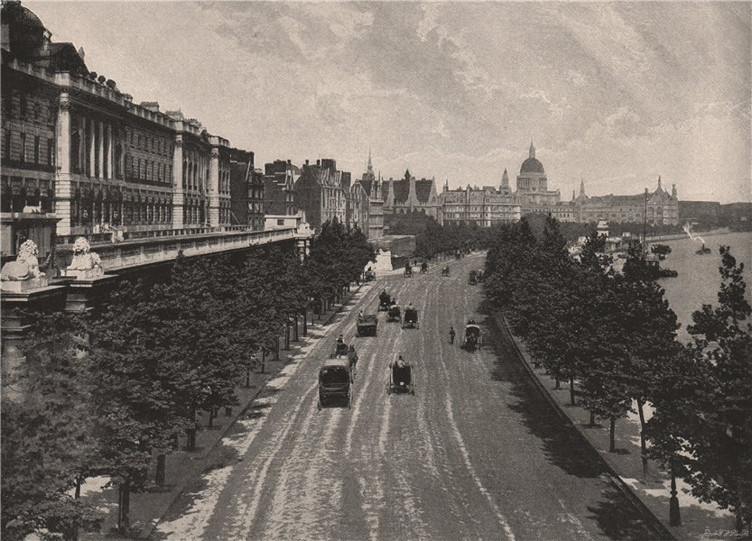 Associate Product The Victoria Embankment, from Waterloo Bridge. London 1896 old antique print