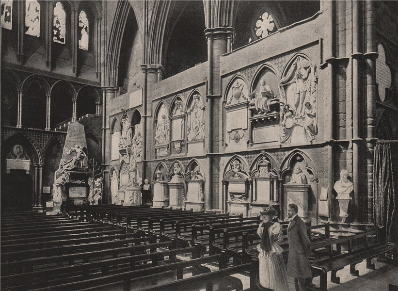 Associate Product Poets' Corner, Westminster Abbey. London. Churches 1896 old antique print