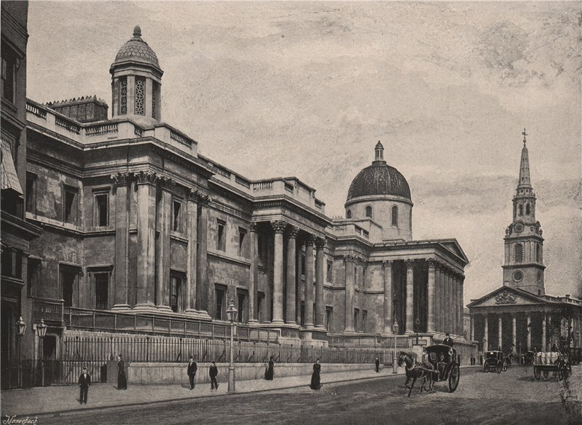 Associate Product The National Gallery, with St. Martin's Church. London. Historic Houses 1896