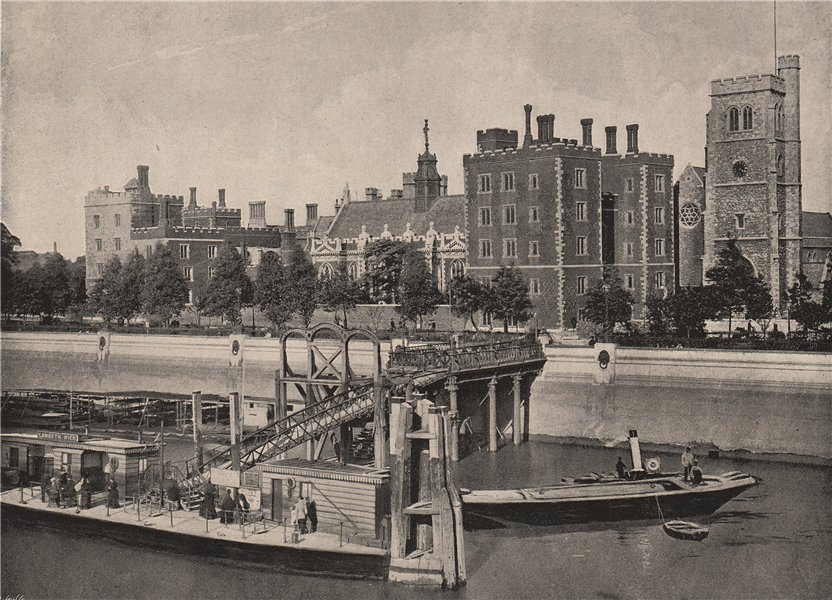Associate Product Lambeth Palace, with St. Mary's Church, from the suspension bridge. London 1896