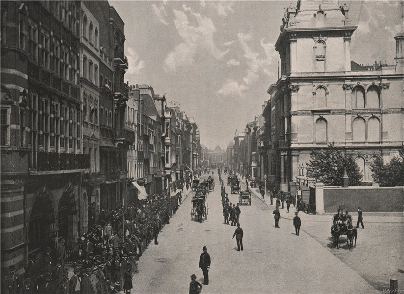 Pall Mall, Looking East. London 1896 old antique vintage print picture