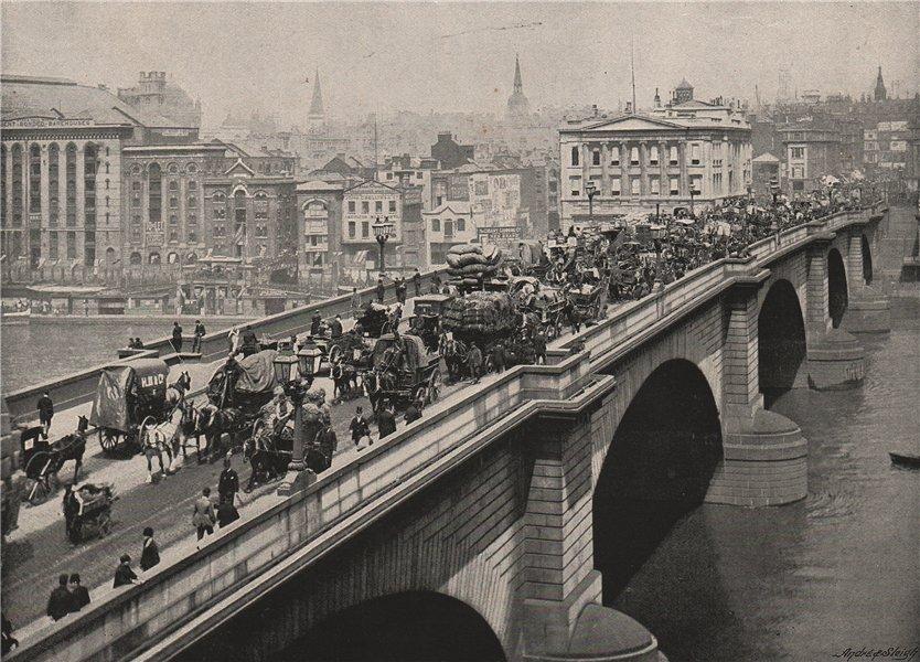 Associate Product London Bridge, Looking North-West. London 1896 old antique print picture