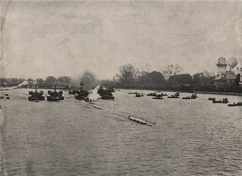 Associate Product The Boat race (1895), from Barnes Bridge. London. Rowing 1896 old print