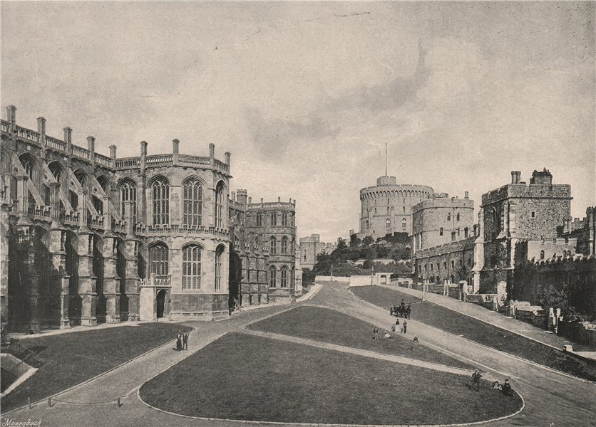 Associate Product Windsor Castle. The Lower Ward, with St. George's Chapel. Berkshire 1896 print