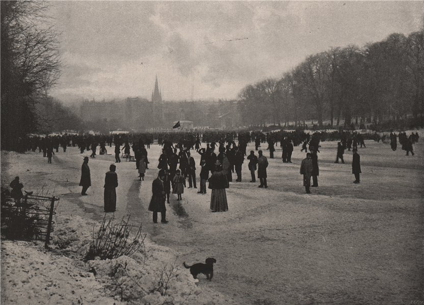 Associate Product Skating on the long water. Hyde Park. Winter sports 1896 old antique print