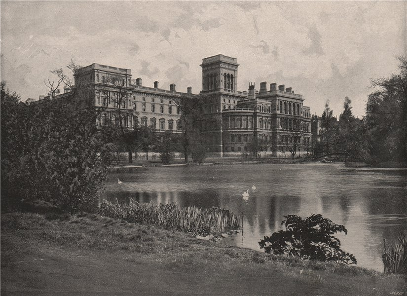 Associate Product The Foreign and India offices, from St. James's Park. London 1896 old print