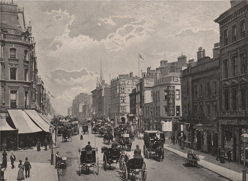 Associate Product Oxford Street, looking east. London 1896 old antique vintage print picture