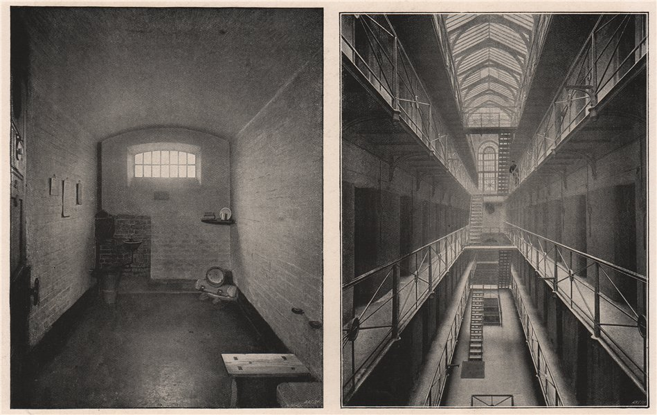 Associate Product A Cell in Newgate prison; The Galleries in Newgate. London 1896 old print