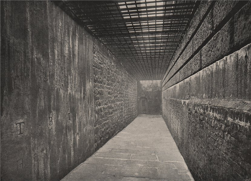 Associate Product Newgate Prison. The Graveyard, towards the door to the Old Bailey. London 1896