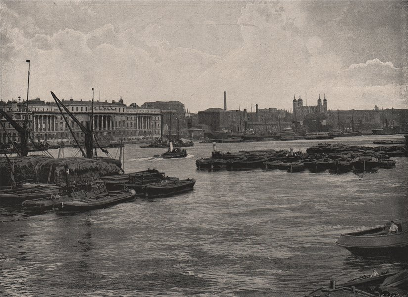 Associate Product View down The Thames from London Bridge. London 1896 old antique print picture