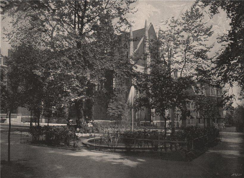 Associate Product Fountain Court, Temple. London 1896 old antique vintage print picture