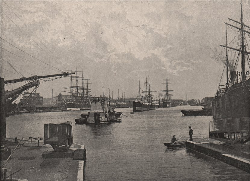 Associate Product The West India Import Dock. London. Ports 1896 old antique print picture