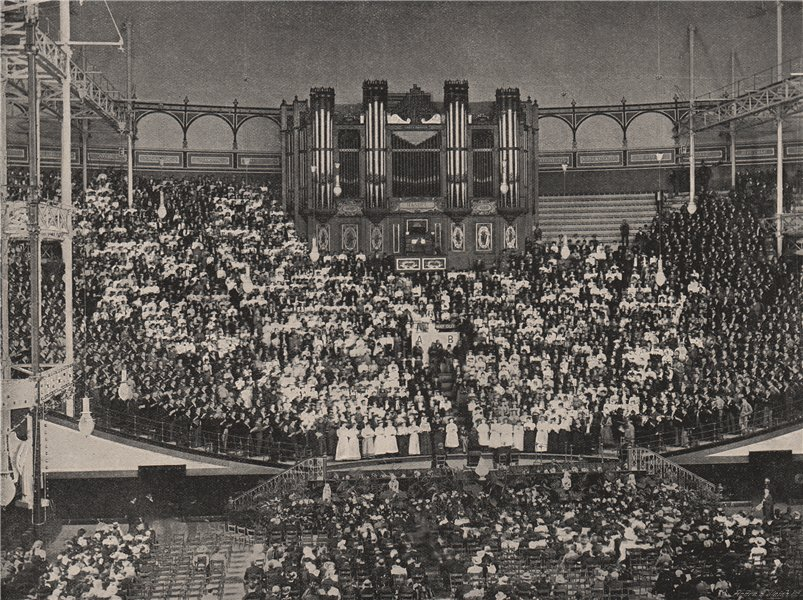 Associate Product A Temperance Demonstration at the Crystal Palace. London 1896 old print