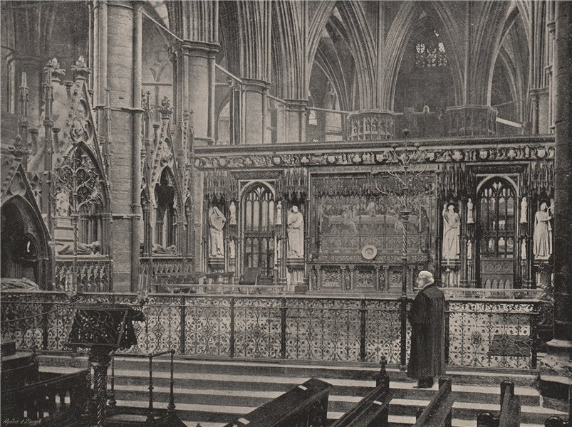 Associate Product Westminster Abbey. The Reredos. London. Churches 1896 old antique print