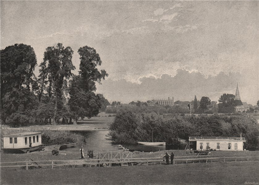 Associate Product Distant view of Eton College, from the Great Western Railway. Berkshire 1896