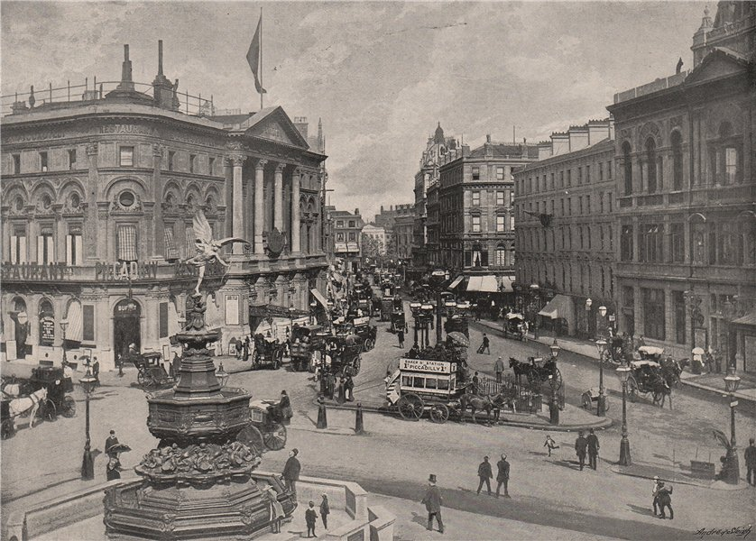 Associate Product Piccadilly Circus. London 1896 old antique vintage print picture