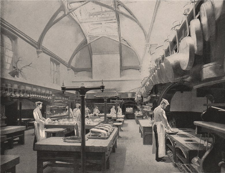 Associate Product The Royal Kitchen, Windsor Castle. Berkshire 1896 old antique print picture
