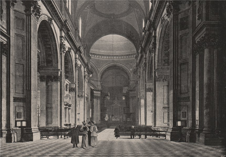 Associate Product St. Paul's Cathedral. The Nave. London. Churches 1896 old antique print