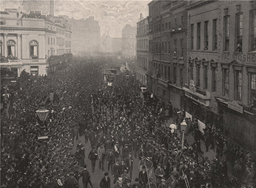 Associate Product A Political Demonstration. On the way to Hyde Park. London 1896 old print