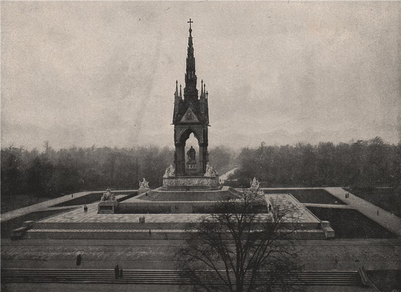 The Albert Memorial. London 1896 old antique vintage print picture